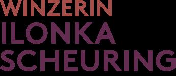 """Das Logo enthält den Schriftzug """"Winzerin Ilonka Scheuring"""" in rot abgestufter Schrift."""